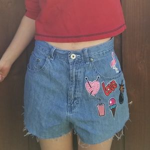 90's Vintage Patches High Waisted Blue Jean Shorts